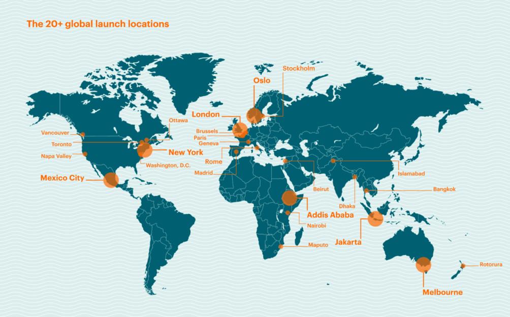 Una mappa che mostra i luoghi del lancio del rapporto EAT-Lancet nel 2019.