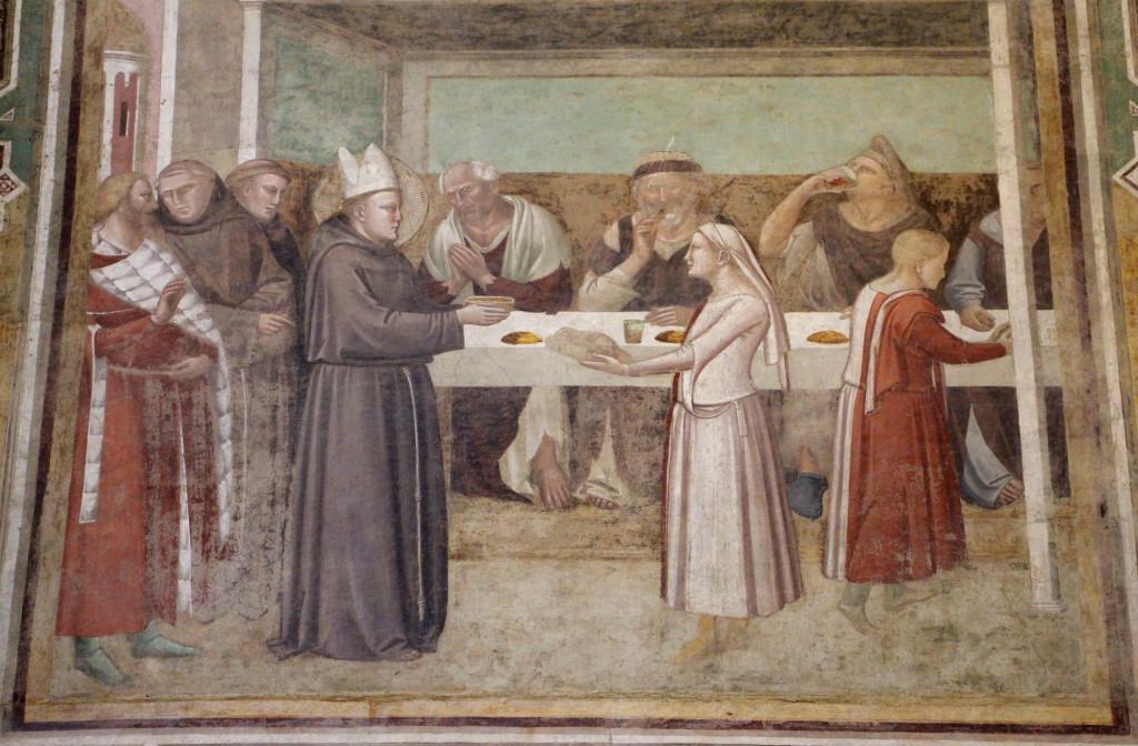 Taddeo Gaddi, San Ludovico accoglie i poveri a mensa